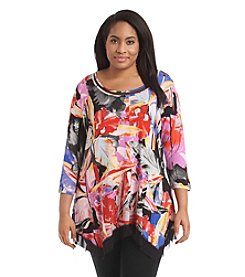Cupio Plus Size Printed Hanky Top