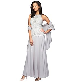 Alex Evenings® Beaded Neckline Gown With Shawl