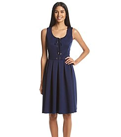 Tommy Hilfiger® Lace Up Scuba Fit And Flare Dress