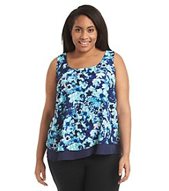 Relativity® Plus Size Floral Print Layered Look Tiered Tank