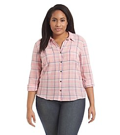 Ruff Hewn Plus Size Plaid Gauze Top
