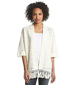 Ruff Hewn Lace Fringe Kimono