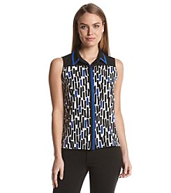 Calvin Klein Printed Color Block Blouse