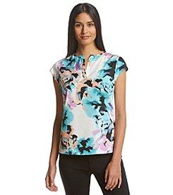 Ivanka Trump® Cap Sleeve Floral Print Blouse