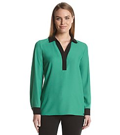 Calvin Klein Long Sleeve Contrast Blouse
