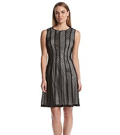 Calvin Klein Fit & Flare Mesh Stripe Dress
