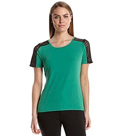 Calvin Klein Scuba Top With Perforated Sleeves