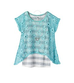 Beautees Girls' 7-16 Short Sleeve Daisy Top Over Striped Knit