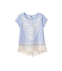 Beautees Girls' 7-16 Short Sleeve Lace Hem Tee
