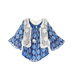 Beautees Girls' 7-16 2-Piece Vest And Peasant Top Set