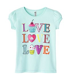 Beautees Girls' 2T-6X Short Sleeve Love Cupcake Tee