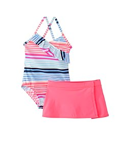 OshKosh B'Gosh® Girls' 2T-6X 1-Piece Stripe Printed Swim Set