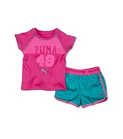 PUMA® Girls' 2T-6X 2-Piece Short Sleeve Tee And Shorts Set