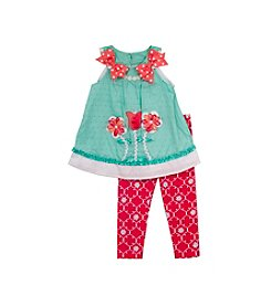 Rare Editions® Girls' 2T-4T Flower Tunic With Polka Dot Leggings Set