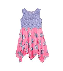 Rare Editions® Girls' 2T-6X Floral Print Lace Top Dress