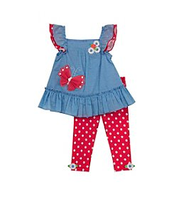 Rare Editions® Girls' 4-6X Butterfly Tunic With Polka Dot Leggings Set