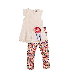 Rare Editions® Girls' 4-6X Tull Helm Tunic With Floral Leggings Set