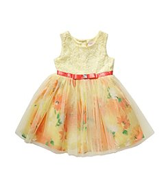 Sweet Heart Rose® Girls' 4-6X Floral Tulle Bottom Dress