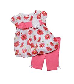 Baby Essentials® Baby Girls' Floral Chiffon Top And Pants Set