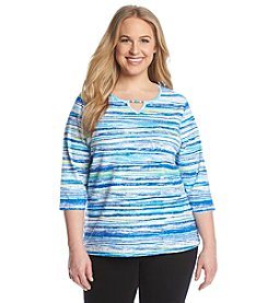 Breckenridge® Plus Size Keyhole Neck Stripe Tee