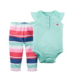 Carter's® Baby Girls' Flutter Sleeve Top And Striped Leggings