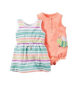 Carter's® Baby Girls' Multi Stripe Dress And Dot Romper