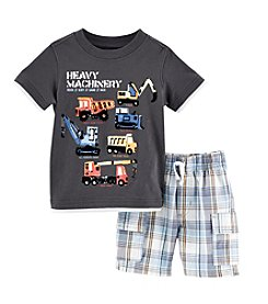 Kids Headquarters® Baby Boys' Heavy Machinery T-Shirt And Plaid Short Set
