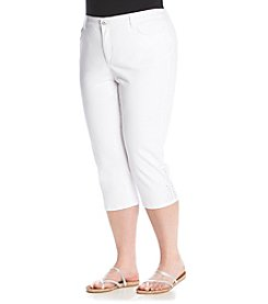 Laura Ashley® Plus Size Embellished Denim Crop Pants