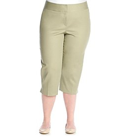 Laura Ashley® Plus Size Solid Twill Crop Pants