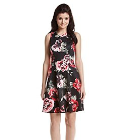 Jessica Simpson Floral Scuba Fit And Flare Dress