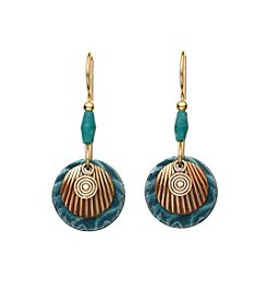 Silver Forest® Goldtone Round Teal Earrings With Tiny Coil
