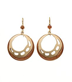 Silver Forest® Goldtone Double Circles Earrings