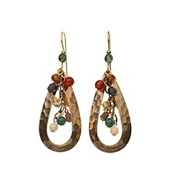 Silver Forest® Goldtone Bead Cascade in Open Teardrop Earrings