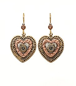 Silver Forest® Tri-Tone Layered Hearts With Coil Earrings
