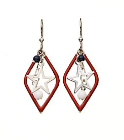 Silver Forest® Silvertone Open Diamond Shape With Stars and Beads Earrings