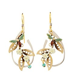 Silver Forest® Two-Tone Bee and Flower Earrings