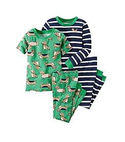 Carter's® Baby Boys 12M-12 Four-Piece Striped Dog Pajama Set