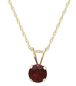 14K Yellow Gold Round Garnet Pendant Necklace