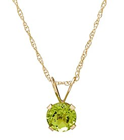 14K Yellow Gold Round Peridot Pendant Necklace