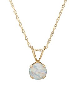 Fine Jewelry 14K Yellow Gold Round Opal Pendant Necklace