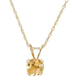 Fine Jewelry 14K Yellow Gold Round Citrine Pendant Necklace