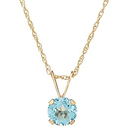 Fine Jewelry 14K Yellow Gold Round Blue Topaz Pendant Necklace