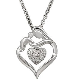 Fine Jewelry Mother-and-Child Heart Pendant Necklace in Sterling Silver