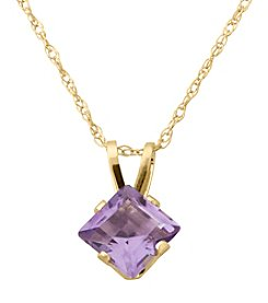 Fine Jewelry 14K Yellow Gold Square Amethyst Pendant Necklace
