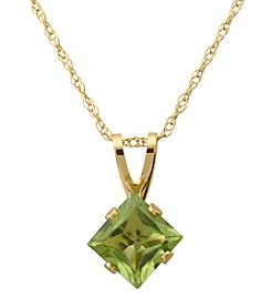Fine Jewelry 14K Yellow Gold Square Peridot Pendant Necklace
