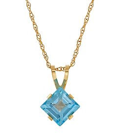 Fine Jewelry 14K Yellow Gold Square Swiss Blue Topaz Pendant Necklace
