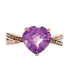Effy® .11 Ct. T.W. Diamond And Amethyst Ring In 14k Rose Gold