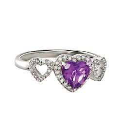 Sterling Silver Amethyst Heart Ring With 0.15 Ct. T.W. Diamond Accent