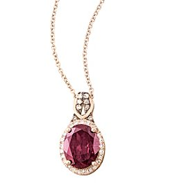 Effy® Bordeaux Collection .12 ct. tw. Diamond And Rhodolite Pendant In 14K Rose Gold