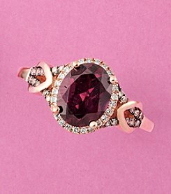 Effy® .18 Ct. T.W. Diamond And Rhodolite Ring In 14k Rose Gold